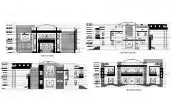 Plan of the villa with different elevation in AutoCAD
