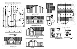 Plan of wooden cottage 9.15mtr x 9.70 mtr with foundation details in Autocad