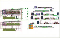 Plan view of collage with section view of college part with door and window view and schedule dwg file