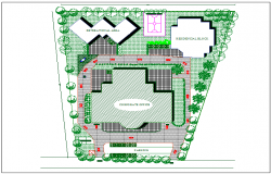 Plan view of corporate building detail dwg file