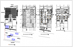 Plan view of office building detail dwg file