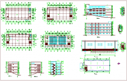 Plan with column view and elevation of building dwg file