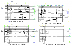Planning Building of three levels plan detail dwg file