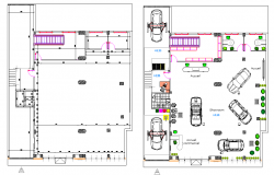 Planning show room Renault detail dwg file