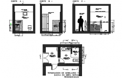 Plant elevation and section of bathroom detail dwg file