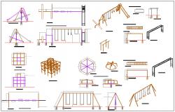 Play ground equipment design for children of public garden dwg file