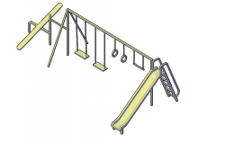 Playground slides and swing plan detail dwg file.