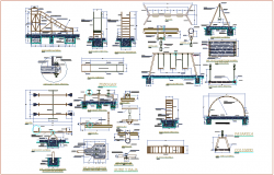 Playing equipment steel structure view for school ground dwg file