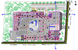 Plot layout Center commercial shopping mall layout file