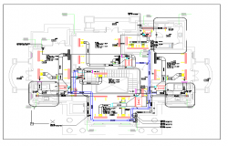 Plumbing detail of a house with floor plan dwg.file