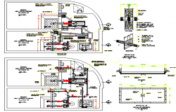 Plumbing details and water facilities of multi-family house dwg file