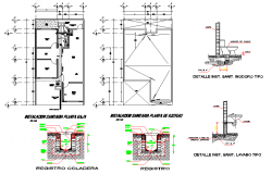 Plumbing sanitary plan and  section detail dwg file