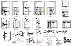 Plumbing sanitary plan and elevation detail dwg file