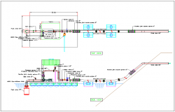 Plumbing water pipe line connection channel section view dwg file