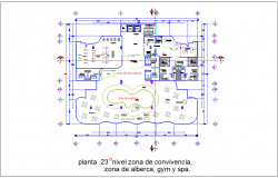Pool area, gym and spa view in  23rd floor plan with living area of tower dwg file