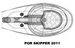 Por skipper boat top view section cad drawing details dwg file