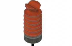 Porcelain insulator 3 D plan detail dwg file