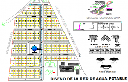 Portable water network design architecture project dwg file