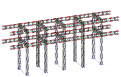 Portico c 60 isometric view  steel structure dwg file