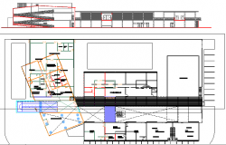 Poultry office building sectional view with layout plan details dwg file
