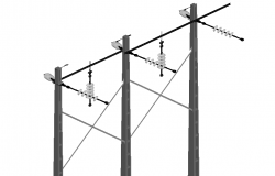 Power lines for electric transmission 3 D plan dwg file