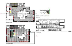 Prada store plan and section autocad file