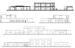 Pre school and primary school elevation dwg file