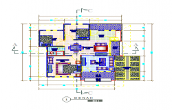 Presentation layout of single family house design drawing