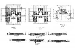 Primary school all sided elevation, section and floor plan cad drawing details dwg file