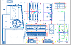 Primary school classroom architectural plan,elevation and section view dwg file