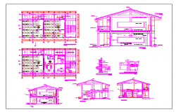 Primary school classroom two floors section and plan details dwg file