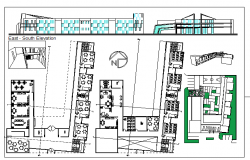Primary school elevation, floor plan and landscaping details dwg file