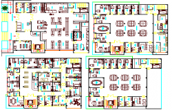 Private clinic and office four flooring floor plan details dwg file