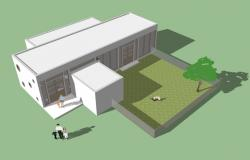Private nursery school building model dwg file