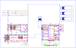 Process plant view of plan with architecture view dwg file