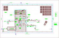 Production area with plan of mineral water container for industrial plant dwg file