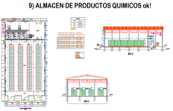 Products store plan and section detail dwg file