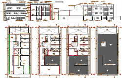 Professional offices and library three floors auto-cad details dwg file