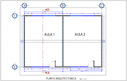 Project of classroom with architectural plan dwg file