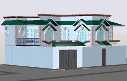 Project of family house in 3 d detail dwg file