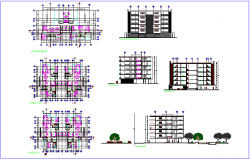 Project plan of school with floor plan view,elevation and sectional view dwg file