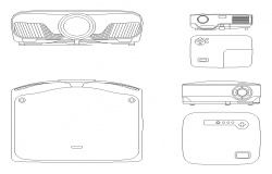 Projector detail CAD blocks 2d view layout file