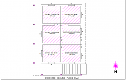 Proposed ground floor plan of office area dwg file