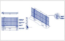 Protection fence details of garden dwg file