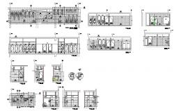 Public bathroom and services section, plan and installation details dwg file