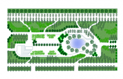 Public garden detail elevation 2d view layout file
