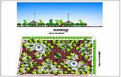 Public garden elevation with landscaping details dwg file