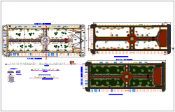 Public garden landscaping details with structural layout plan dwg file