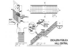 Public hall center staircase section, plan and construction details dwg file