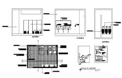 Public health sanitary facilities section, plan and installation details dwg file